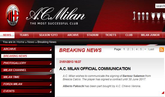 AC米兰宣布萨拉蒙加盟。