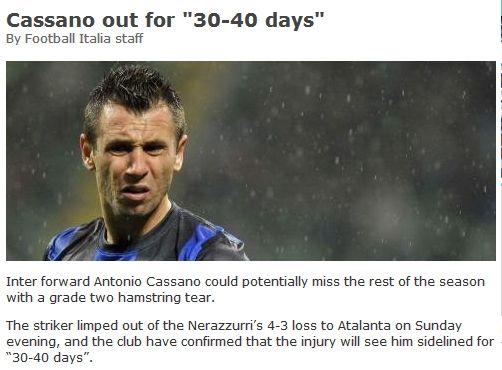 卡萨诺伤停超1个月,赛季几乎报销。