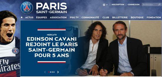 巴黎官方宣布卡瓦尼加盟