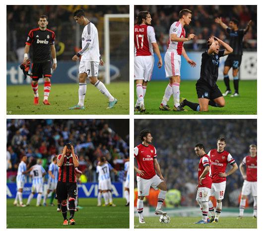 皇马、曼城、AC米兰和阿森纳在本轮比赛日同时告负!