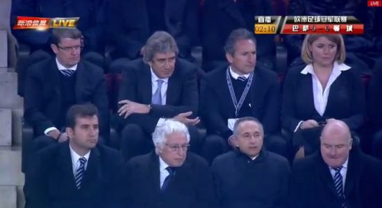 佩莱格里尼只能坐在看台上