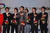 图文-智运会围棋男子团体颁奖韩国棋手高唱国歌