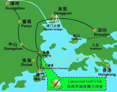 广州珠海翠湖高尔夫球位置图