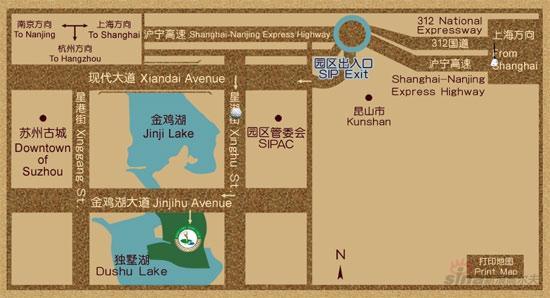 苏州金鸡湖国际高尔夫俱乐部位置图示