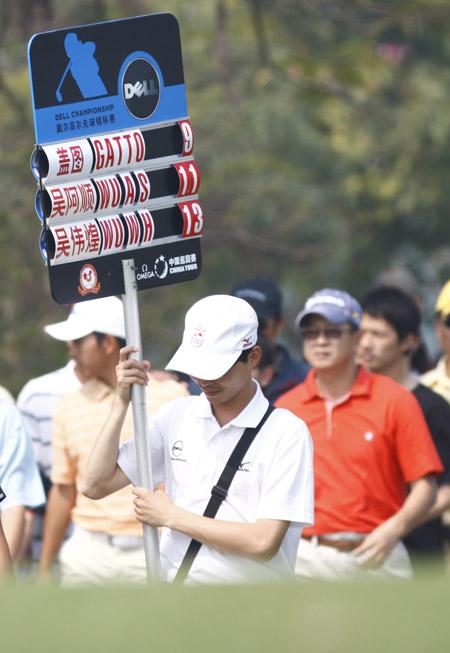 图文-戴尔锦标赛决赛轮战况领先组记分板