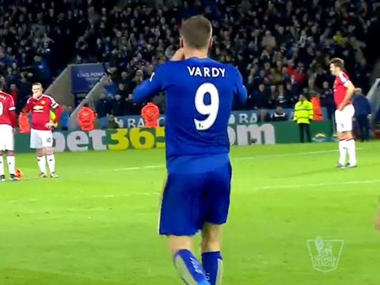 进球视频-瓦尔迪!连续11场破门 踩着曼联破纪录