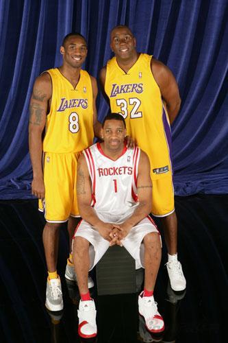 NBA老照片-全明星齐聚休斯顿科比麦蒂携手魔术师