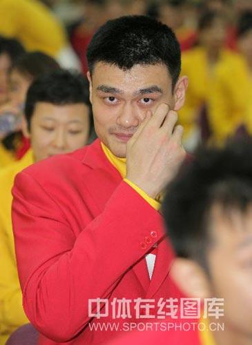 图文-北京奥运会中国代表团成立 姚明气色不错