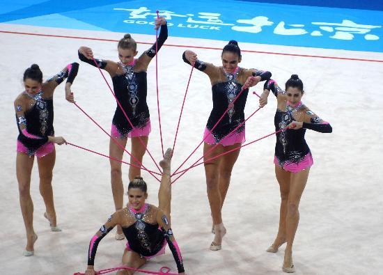 图文-好运北京艺术体操国际邀请赛意大利队配合默契