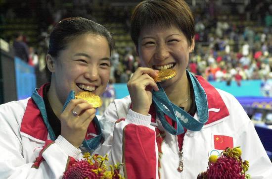 图文-中国历届夏季奥运会金牌得主 王楠李菊夺金
