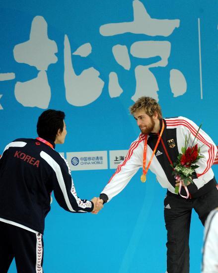 图文-奥运游泳测试赛5日赛况 选手们互致敬意