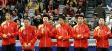 图文-广州世乒赛男团中韩巅峰对决中国队集体亮相
