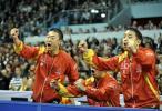 图文-世乒赛中韩男团巅峰对决观战席也不平静