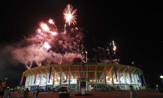 图文-北京奥运圣火在伊斯兰堡传递 天空中的美景