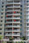 图文-奥运圣火在惠州传递 居民楼上五星红旗飘扬