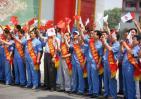 图文-北京奥运圣火在太原传递 加油助威整齐划一