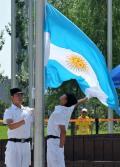 图文-阿根廷在奥运村举行升旗仪式 升旗仪式现场