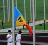 摩尔多瓦代表团举行升旗仪式