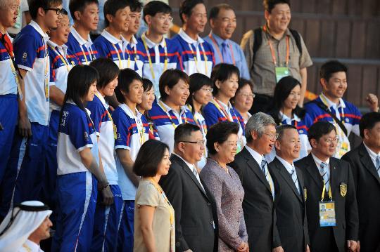 图文-中华台北奥运代表团升旗仪式 代表团合影留念