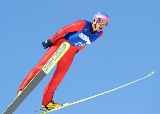 图文-中国选手男子K125米个人赛王建勋张大嘴