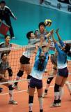 图文-全国女排联赛天津队成就第六冠拦网奏效
