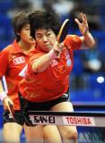 图文-世乒赛女双八强产生曹臻进攻很是凶悍