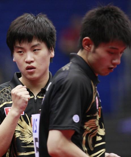 图文-世乒赛男双第三轮激战郝帅/张继科迎来胜利
