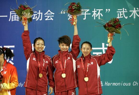 图文-全运武术套路女子对练决赛天津队登上领奖台