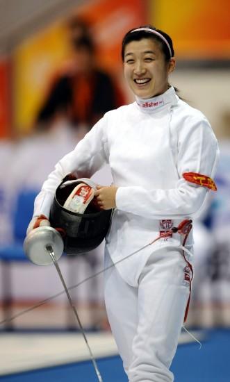 图文-现代五项女子个人赛陈倩在击剑比赛中