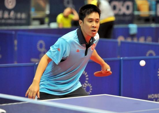 图文-中国香港乒乓球队备战东亚运动会高礼泽进攻