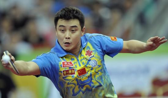 图文-世乒赛男团中国3比0胜俄罗斯王皓直拍横打