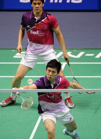 图文-中国羽毛球大师赛男双决赛双方网前较量