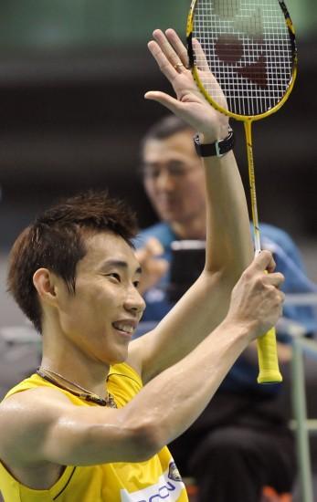 图文-日本羽毛球公开赛24日战况李宗伟庆祝胜利