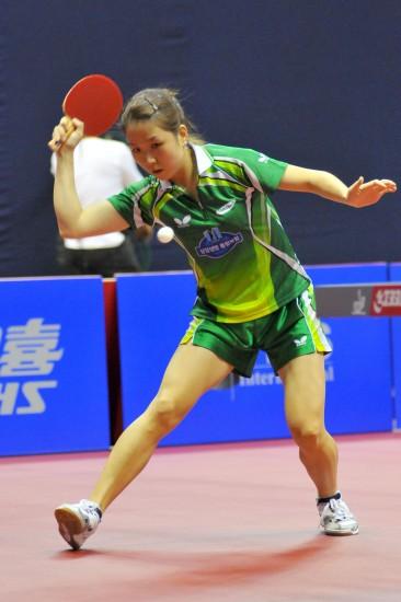 图文-女乒世界杯小组赛激战韩国选手朴美英回球