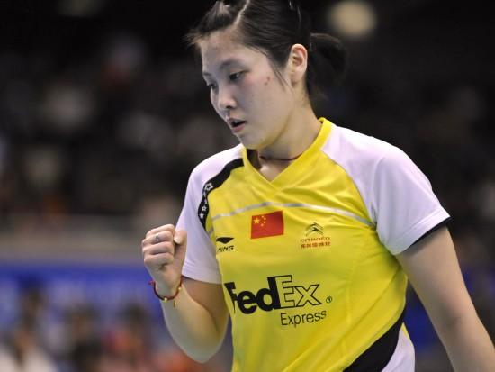 图文-日本羽毛球超级赛蒋燕皎晋级决赛为自己鼓劲