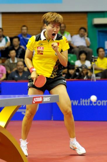 图文-女子乒乓球世界杯1/4决赛郭焱庆祝得分