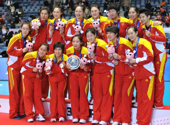 中国队领奖台合影