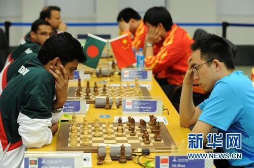 亚运会国象男团首轮 中国击败孟加拉国队