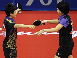 乒乓球女双郭跃/李晓霞4-0卫冕丁宁/刘诗雯亚军